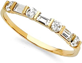 GemApex 14k Yellow Gold CZ Wedding Band Anniversary Round & Baguette CZ Ring Bridal Band Channel Stones