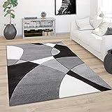 Alfombra Salón Pelo Corto Moderna Efecto 3D Perfil Contorneado Motivo Abstracto, tamaño:160x230 cm, Color:Blanco y Negro