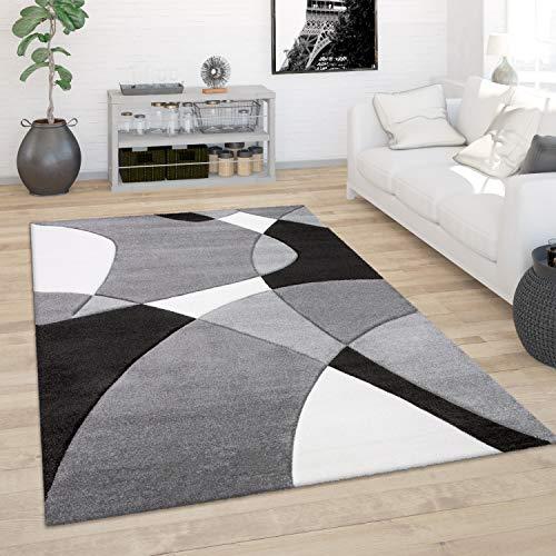 Paco Home Teppich Wohnzimmer Kurzflor Modern 3D Look Konturenschnitt Abstraktes Muster, Grösse:120x170 cm, Farbe:Schwarz-Weiß