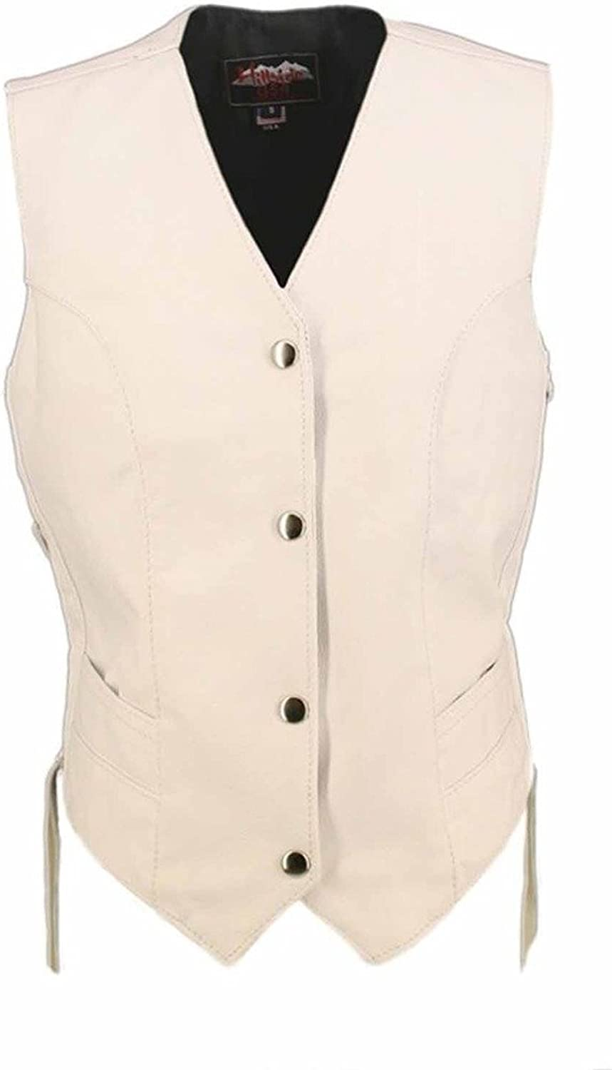 Hillside USA Ladies White Made in USA Leather Motorcycle Vest Side Laces