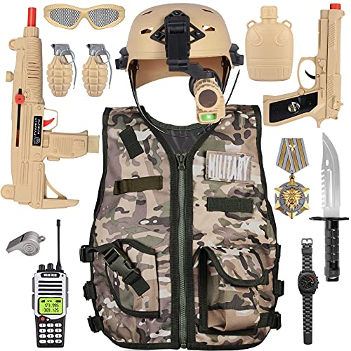 Kids Army Military Combat Soldier Costume Halloween Party Role Play...