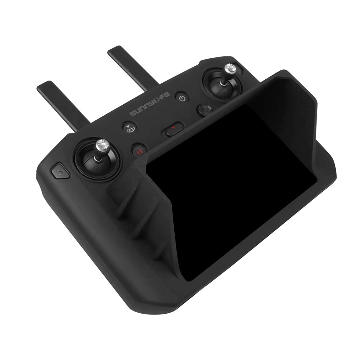 Anbee Protective Silicone Case Cover Sleeve with Sunshade Compatible with DJI Mavic 2 Smart Controller, Black (with Sun Hood)