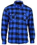 Bikers Gear Australia - Camisa protectora de franela para motocicleta con forro de aramida multicolor Azul y negro. 4XL