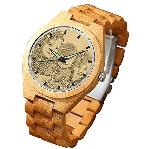 SOUFEEL Herren Holzuhr Personalisierte Armbanduhr mit Foto und Gravur Analog Japanisches Quarzwerk mit Holzarmband Bambus Durchmesser 45mm