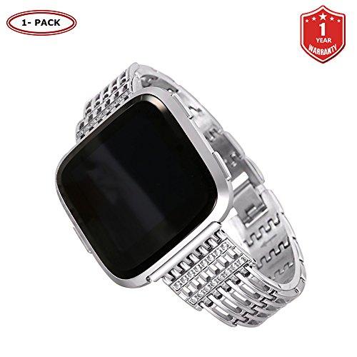 FunBand für Fitbit Versa/Versa 2/Versa Lite Armband für Frauen,Luxus Edelstahl Metall Armband Zubehör Mit Bling Strass für Fitbit Versa/Versa 2/Versa Lite Smartwatch (Silber)