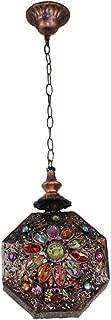 Lamparilla Colgante Estilo Marroquí,Lámpara Oriental étnica,Antiguo Multicolor Gema Lámpara de techo árabe Indio Estilo Vintage Rústica Farola de techo Para Dormitorio Salón Balcón Pasillo Cocina