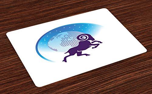 ABAKUHAUS Ram van de dierenriem Placemat Set van 4, Globe Stars Goat, Wasbare Stoffen Placemat voor Eettafel, Dark Purple White