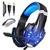 Cascos Gaming Ps4 con Micrófono Auriculares Gaming para PC Xbox one, Sonido Envolvente, LED Cascos Gamer PS4 con Microfono Cancelación de Ruido Diadema 3.5mm Jack para Switch Playstation 4 Laptop