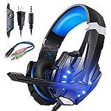 Cascos Gaming Ps4conMicrófonoAuricularesGaming para PC Xbox one, Sonido Envolvente,LEDCascosGamerPS4conMicrofonoCancelacióndeRuidoDiadema 3.5mm Jack para SwitchPlaystation4Laptop