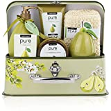 Luxury Spa Gift Basket, PURE Spa Basket -Bath and Body Gift Set. Pear Bath Set Includes Bubble Bath, Body Scrub, Shower Gel, more! #1 Gift Baskets for Women! (Large)