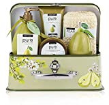 Luxury Spa Gift Basket, PURE Spa Basket -Bath and Body Gift Set. Pear...