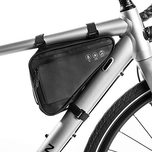 WOTOW Fahrraddreieck Rahmentasche, Fahrrad wasserdichte vordere Lenkertasche Umschnall-Satteltasche Aufbewahrungsschlauch Tasche mit reflektierendem Streifen für Telefon Bargeld, Reparaturwerkzeug