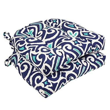 Pillow Perfect Damask Reversible Chair Pad, Blue/White, Set of 2