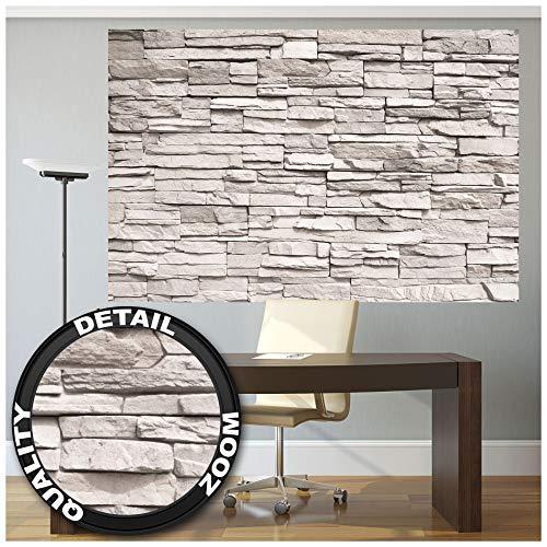 GREAT ART® Mural De Pared – Muro De Piedra Blanca – Revestimiento De Paredes De Diseño Industrial, Muro De Piedra Natural Foto Papel Pintado Y Tapiz Y Decoración (210 X 140 Cm)