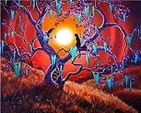 番号キットによるDiy5Dダイヤモンド絵画月の下の木の猫夜のラウンドフルドリル刺繡クロスステッチアートクラフトキャンバス供給家の壁の装飾刺繍ダイヤモンドモザイクアクセサリー40X50cm