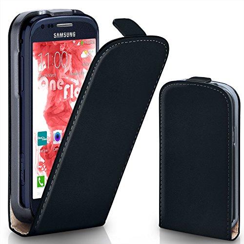MoEx® Flipcase kompatibel mit Samsung Galaxy S3 Mini | Klapphülle Handytasche mit Rundum Schutz - Handy Hülle Klappbar Flip Case, Schwarz