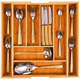 Klass Home Cutlery Tray Organiser, Kitchen Utensil Holder, Bamboo Cutlery Tray/Kitchen Organiser Tray, 6-8 Compartment Organiser. Extendable Wooden Knife and Utensils Holder Tray Rack