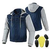 LALEO Personalidad Chaqueta de Moto, con Armours Cuatro Estaciones Universales Chaqueta para Motocicleta Azul (S-XXXL),XL