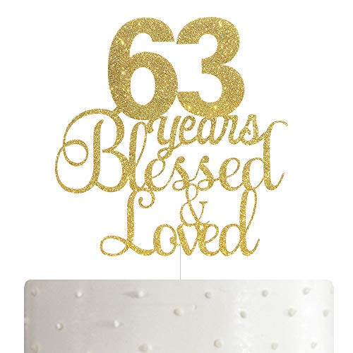 ALPHA K 63th Birthday/Anniversary Cake Topper – 63 Years Blessed & Loved Cake Topper with Gold Glitter