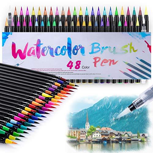 48+2 Pinselstifte Handlettering Stifte Set, Manga Zeichnen Stifte, Kalligraphie Set, Aquarellpinsel Lettering Stifte Set für Bullet Journal, Kalligraphie, Geschenk