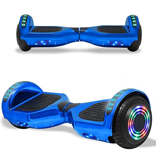 TPS Electric Hoverboard Self Balancing Scooter for Kids and Adults Hover Board with 6.5  Wheels Built-in Bluetooth Speaker Bright LED Lights UL2272 Certified (Chrome Blue)