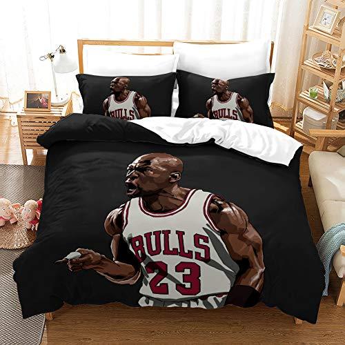 Stuyon NBA - Set copripiumino e federa per gioco di pallacanestro 3D, set per letto singolo 135 x 200 cm e 1 federa 50 x 75 cm