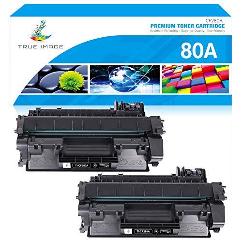 True Image Compatible Toner Cartridge Replacement for HP 80A CF280A 80X CF280X Laserjet Pro 400 M401n M401dne M401dn MFP M425dn M401dw M401d M425dw M401a M401 M425 Printer Toner (Black, 2-Pack)