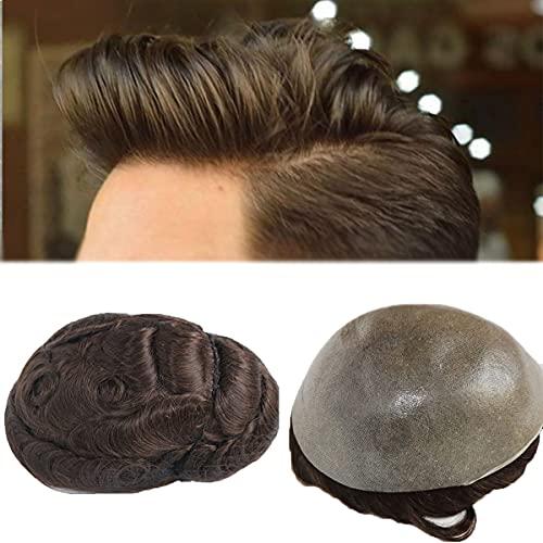 PUL Base PU 8IN * 10IN V Loop Uomo Toupee 0.08mm-0.10mm PU Protesi per Capelli PU Protesi Maschile Remy Hair Hair Transparent Toupee Men,col#4