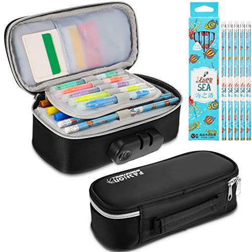Lock Pencil Case Combination Lock Pencil Pouch Pencil Case Holder Bag Compartments Zipper Pen Bag with 12 Pieces Pencils for School Office Supplies, Large Capacity