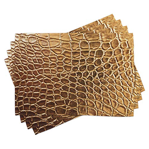 Lunarable Animal Print Place Mats Set of 4, Tint Vivid Crocodile Skin Nature Life Toughness High-End Design Artwork, Washable Fabric Placemats for Dining Table, Standard Size, Pale Brown