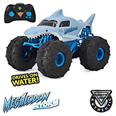 DRIVE ON WATER: Featuring a water-resistant design and custom performance tires, Megalodon STORM attacks water with ease! Drive from water to land and keep on going – this Megalodon RC is like no other! CONQUER ANY TERRAIN: This RC truck handles any ...