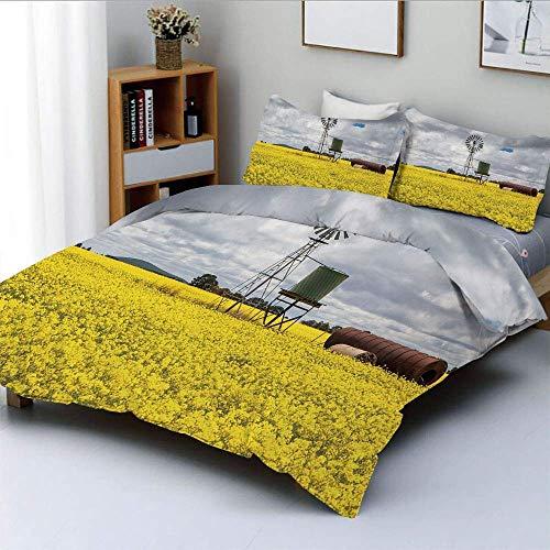 Juego de funda nórdica, Canola Meadow Stormy Day Victorian Goldfields Agricultural Farmland DecorativeDecorative Juego de cama de 3 piezas con 2 fundas de almohada, amarillo gris blanco, el mejor rega