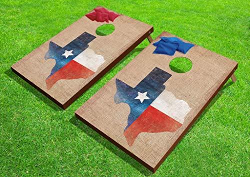 Texas Flag on Burlap-Texture Man Cave Art 24'x36' Cornhole or Bean Bag Toss Game Set