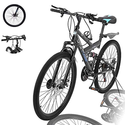 Lroplie R2 Commuter Aluminum Road Bike 21 Speed Bicycle Full Suspension MTB, 26in Carbon Steel Mountain Bike (Black (26 in 21 Speed))