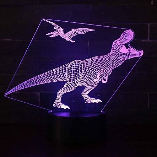 3D Illusion Nuit Lumière Win-Y LED Bureau Table Lampe 7 Couleur Tactile Lampe Maison Chambre Bureau Décor pour Enfants D'anniversaire De Noël Cadeau (Dinosaure L1)