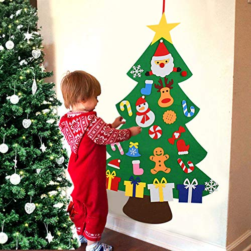 DIY Felt Christmas Tree Xmas Gifts Ornaments Set for Kids Door Wall Hanging Decorations 3FT (Felt Christmas Tree)