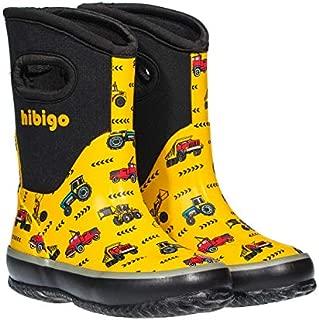 hibigo Kids Toddler Neoprene Rain Boots Winter Warm Snow Muck Boots Boys Girls Waterproof Outdoor Mudboots Solid Color
