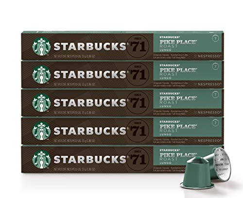Starbucks by Nespresso, Pike Place Roast (10-count capsules, compatible with Nespresso Original Line System), 5 Pack