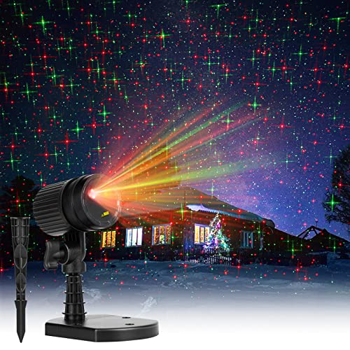 Christmas Lights Laser Projector Outdoor Red and Green Starry Projection Light 3 Working Modes Waterproof Plug in Mountable for Holiday Xmas House Indoor Party New Year Decoration Show