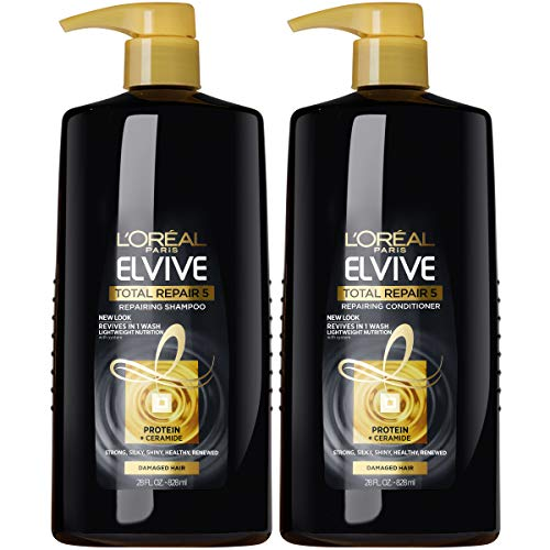 L#039Oreal Paris Elvive Total Repair 5 Repairing Shampoo and Conditioner for damaged hair Shampoo and Conditoner with protein and ceramide for strong silky shiny healthy renewed hair 1 kit