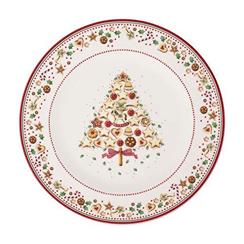 Villeroy & Boch Winter Bakery Delight Platzteller, dekorativer Servierteller aus Premium Porzellan, rot/bunt, 32 cm