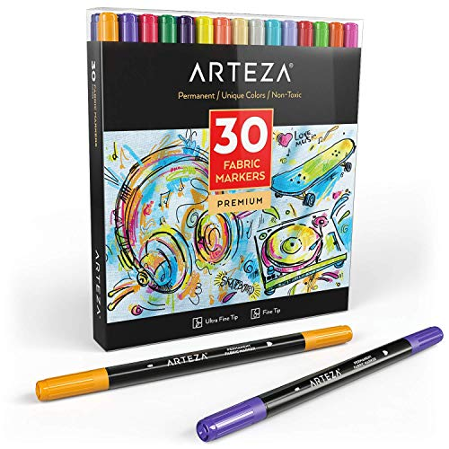 Arteza Fabric Markers, Set of 30 Assorted Colors,...