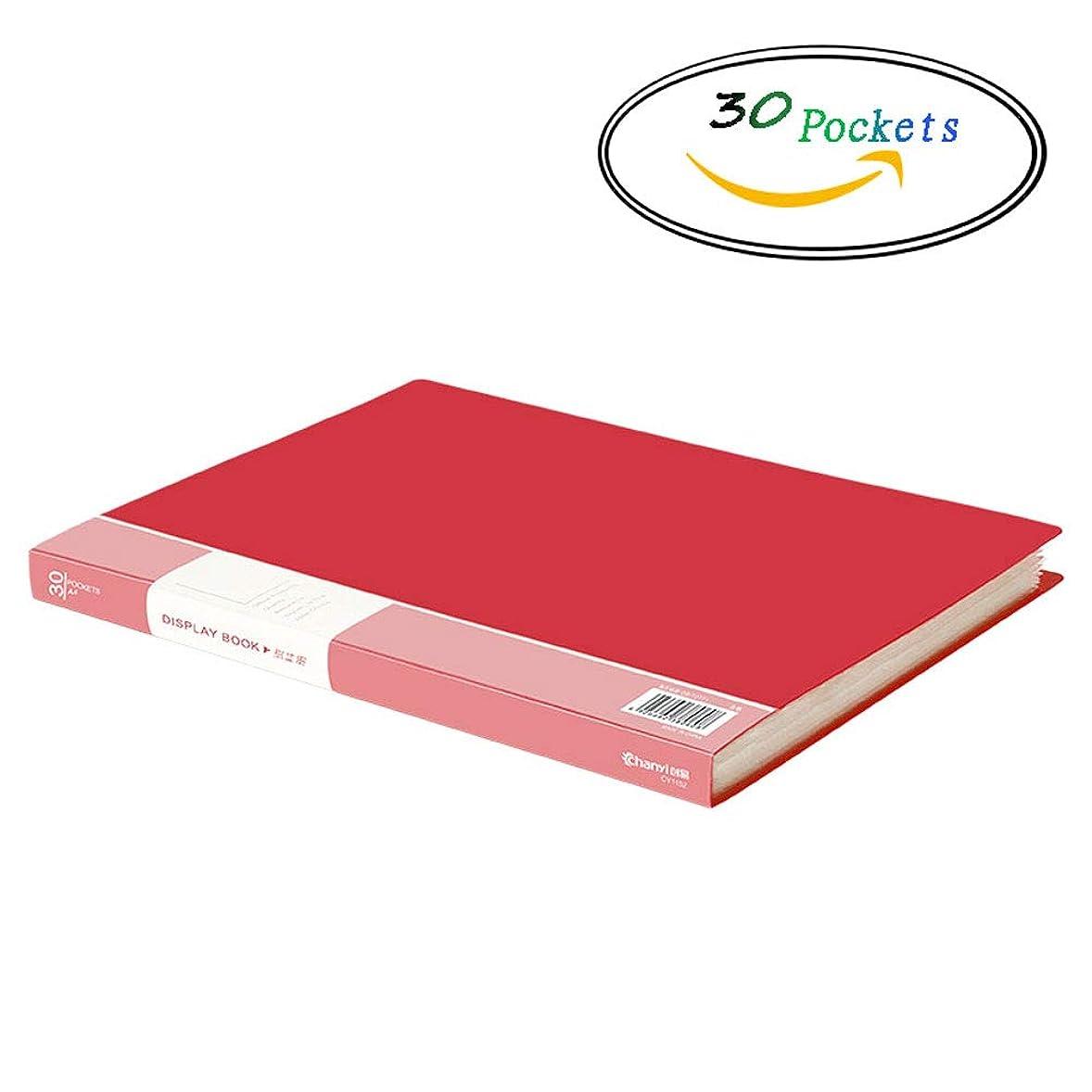 単語十分枯れるA4ディスプレイブックフォルダ、ポートフォリオフォルダプレゼンテーションブックポケット (色 : Red 30 Pockets)