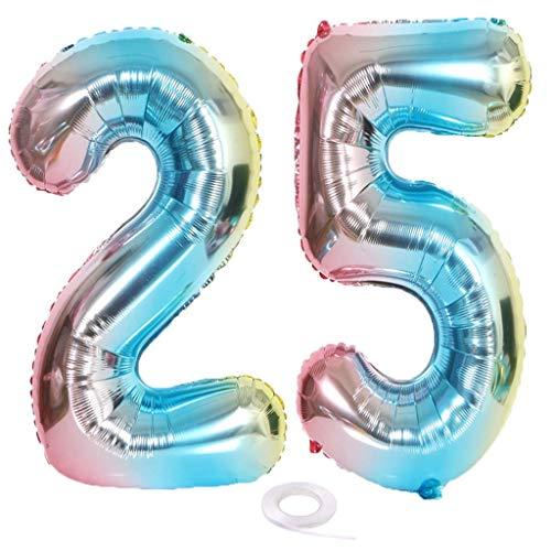 SNOWZAN Globo XL con número 25. Globo arcoíris para niña o niño globos con número 25 para decoración de cumpleaños color multicolor iridiscente 25 años 32 pulgadas helio gigante fiesta de cumpleaños