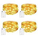 Litogo Luces LED Pilas, Guirnalda Luces Pilas[4 PCS], 5m 50 LED Luces Decorativas Habitacion Luces de Cadena Micro con Pilas de Alambre de Cobre para Decoración Interior Bodas Fiesta de Navidad