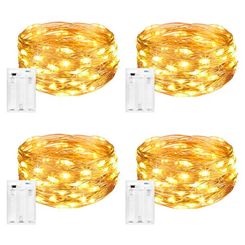 LED Lichterkette Batterie [4 Pack], Litogo Lichterketten für Zimmer,5m 50er Micro LED Lichterkette Draht Innen Feenlichter Mini Fairy Lights Deko für Party Weihnachten Halloween Hochzeit(Warmweiß)