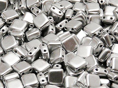 40pcs Tchèque Perles de verre Tuile à deux trous, Plat Carré 6x6x2.9mm, Grade AB, Silver Metallic Matte (Aluminum)