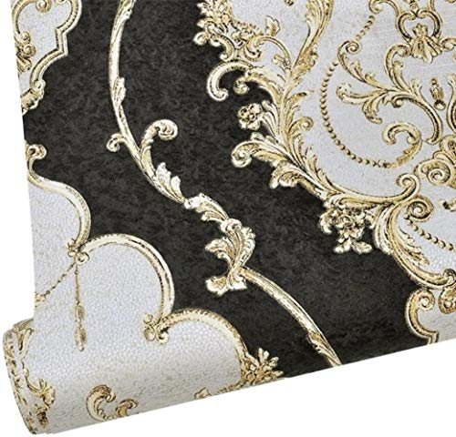 10M Luxury Heavy Texture Victorian Damask Wallpaper Black/Gold/Brown/Silver for Home Accent Wall