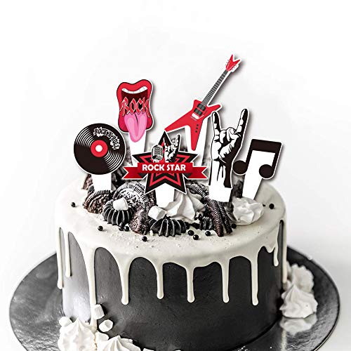 36Pcs Rock & Roll Cupcake Topper for Musical Theme party, Guitar,Note, Rock Music elements Cake Topper Decoration for Birthday Party Supply