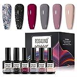 ROSALIND Esmaltes Semipermanentes para Uñas , Esmalte Pintauñas de Uñas en Gel UV Kit 6 Colores...
